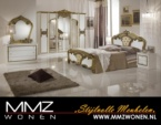 MMZ WONEN / Klasik model yatak odasi takimi - Aynali dolaplar - Altin gumus beyaz