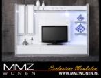 MMZ WONEN / lux beyaz tasli cerceveli televizyon sehpasi ve duvar unitesi bir arada