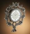 Alkapıda.com / Çıdam Seramik Güllü Duvar Saati Gümüş Rengi