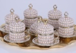 Alkapıda.com / Hediyelik 6 Kişilik 8 Parça Krem İnci Gümüş Kahve Seti