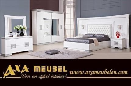 Axa woiss meubelen beyaz parlak avangarde modern barok yatak odası